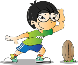 cartoon asian boy with glasses and a rugby ball