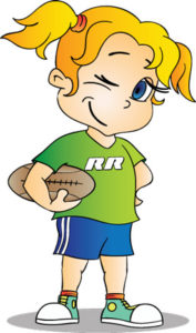 cartoon girl character holding a rugby ball